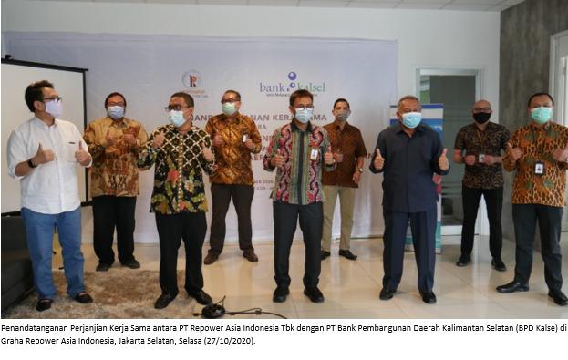 Penandatanganan Perjanjian Kerja Sama antara PT Repower Asia Indonesia Tbk dengan PT Bank Pembangunan Daerah Kalimantan Selatan (BPD Kalse) di Graha Repower Asia Indonesia, Jakarta Selatan, Selasa (27/10/2020)